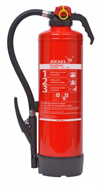 Jockel 6 Liter Schaum Feuerlöscher S6JX Bio 34 MIT WANDHALTER